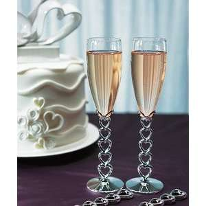 Silver Plated Stacked Hearts Glass Flutes Everything Else