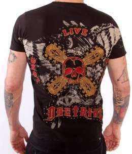 Doctrine Apparel Long Live Rock Skulls Guitar Stocks Studded Shirt