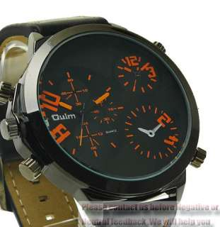 CoolNew Sport Mens Dual Two Time Zone Watch Wristwatch Leather Strap