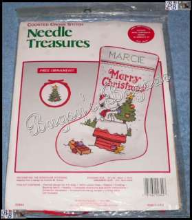 Snoopy DECORATING THE DOGHOUSE Counted Cross Stitch Christmas Stocking