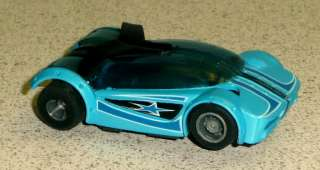 Tyco/Mattel Hot Wheels Blue HO Slot Car With Wing Runs Great