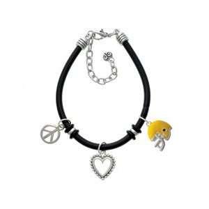 Small Yellow Football Helmet Black Peace Love Charm Bracelet [Jewelry]