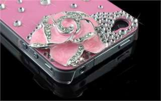 4S Camellia Flower Bling Diamond Rainstone Hard Case Cover Skin