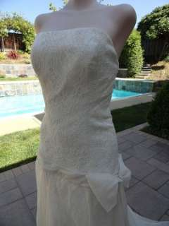 Stunning Ivory Silk & Lace Strapless Dropped Waist Bridal Wedding Gown