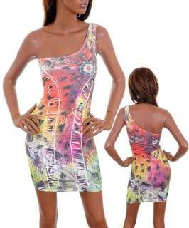 R56 Trendy Tattoo Print with Rhinestones Dress M/Medium