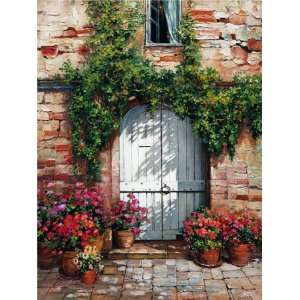 Roger Duvall 24W by 32H  Wooden Doorway,Siena CANVAS
