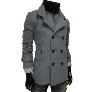DWC) THELEES Mens Double Breasted High neck Inner Padding Wool Coat