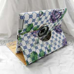 iPad 2 New Fashion 360 Rotating Magnetic Smart Cover Leather Case With