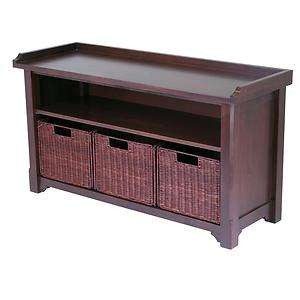 Solid Wood Storage Bench + 3 Pull Out Wicker Baskets   NEW