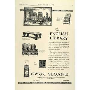 Ad W. J. Sloane English Library Furniture Furnishings Decor Ernest