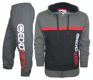 NEW ecko FLEECE TRACKSUIT full zip HOODY JOG JOGGING SUIT SIZE S M L