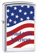 HP Chrome Zippo Lighter Proud to be American # 62706