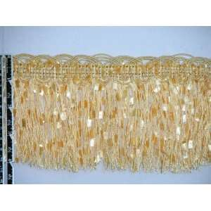 4 1/4 Elegant Confetti Tassel Fringe Trim Gold Per Yard