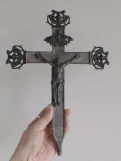 antique French Processional Cross, crucifix 18th century