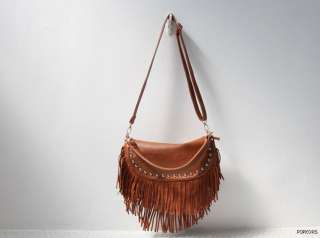 NWT Women Real Cow Leather Fringe Golden Studs Crossbody Shoulder Bags