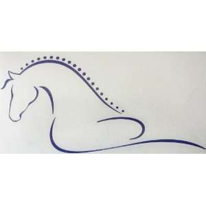 Sm Purple Line Art Flowing Braided Mane Horse Vinyl Car Decal Sticker