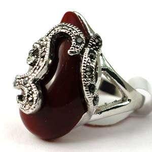 d7269 Size 9 Cute Red Tibetan Silver Primp Gemstone Diamante CZ Finger