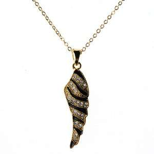 com Gold Tone Wing Necklace with Clear Colored Rhinestones and Black