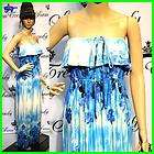 Long Strapless Full Blue Prom Dress size 10, Precious Formals