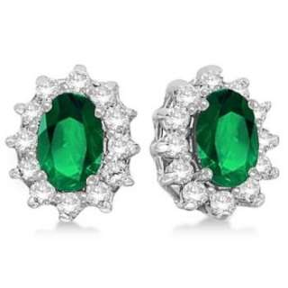 05ct Natural Oval Green Emerald & Diamond Accented Earrings 14k