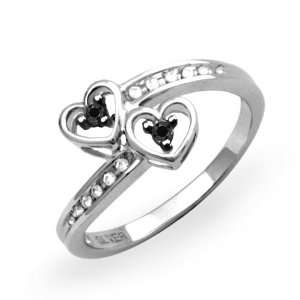 Black And White Double Heart Promise Ring (1/10 cttw) D GOLD Jewelry