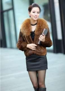 2012 New Womens Rabbit Winter Fur Fashion Warm Coat Jacket Outwear