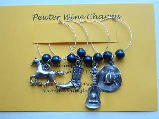 Charms Markers Set of 4 horse cowboy hat boot guitar USA made