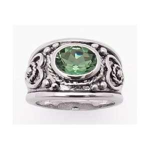 Rhodium Plated Heavy 2.5ct Genuine Green Topaz Sterling Silver Heart