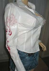BRIGHT WHITE BEBE Long Sleeve w/CHERUB ANGELS Top Blouse ~ LARGE