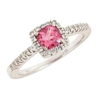 Cushion Cut Pink Tourmaline Diamond Engagement Ring 14k White Gold