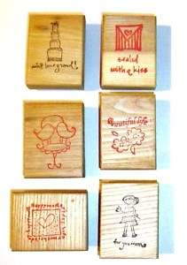 WOOD MOUNTED RUBBER STAMP CHOOSE MOM KISS BIRDS MORE