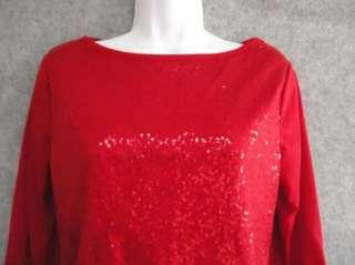 SAG HARBOR Petite Womens Sequined Shirt Top Size PM PL
