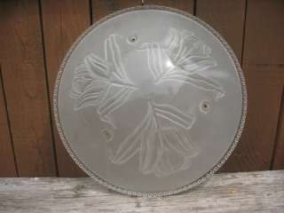 Antique Frosted Glass Ceiling Light Shade Art Deco Pull Chain Roses