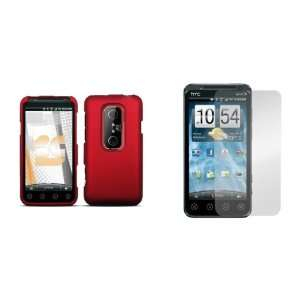 HTC EVO 3D (Sprint) Premium Combo Pack   Red Rubberized Shield Hard