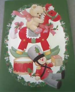 Ruth Morehead Christmas Greeting Card with Teddy Bear Riding Hobby