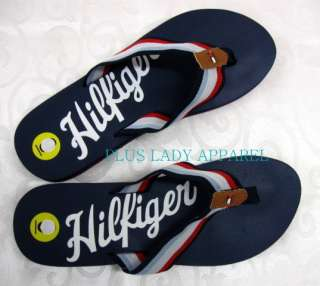 TOMMY HILFIGER TH Girl Flip Flop Sandals Shoes Navy NWT 9
