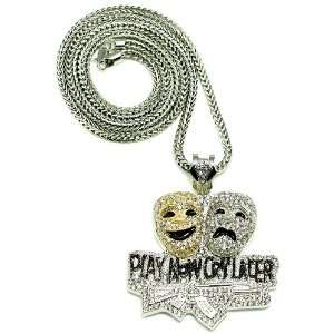 Play NOW CRY Later Iced Out Pendant Necklace Silver