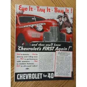 1940 Chevrolet, Vintage Illustrated art. 30s full page print ad