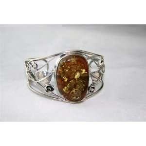 Extra Large Sterling Silver & Natural Baltic Amber Bracelet 34,60