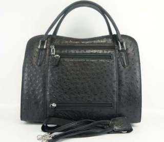 AUTHENTIC BIZARRE PARIS GENUINE OSTRICH LEATHER BLACK HAND BAG PURSE w