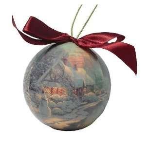 Thomas Kinkade Christmas Evening Decoupage Holiday Ball Ornament