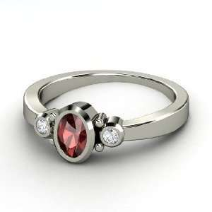 Kira Ring, Oval Red Garnet Sterling Silver Ring with