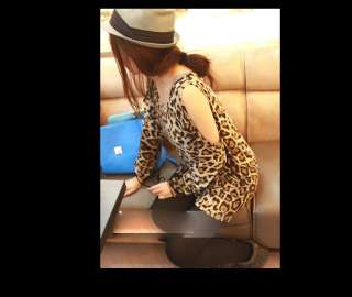 New Korea Women Vogue leopard ZGX118 off shoulder long soft loose