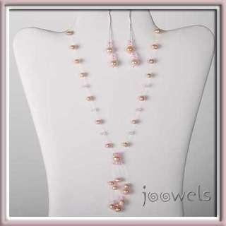 Pearl Y Floating Necklace Earrings Set Silver Bridal
