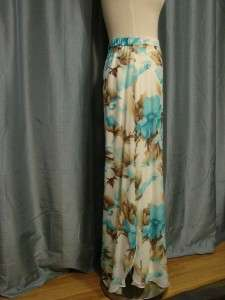 EVENING Multi Colored Floral Print Sequin Palazzo Wide Leg Pants Sz 14