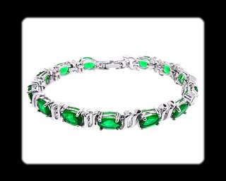 Fashion Jewelry Lady Gift Green Emerald White Gold GP Tennis Bracelet