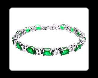 Fashion Jewelry Lady Gift Green Emerald White Gold GP Tennis Bracelet