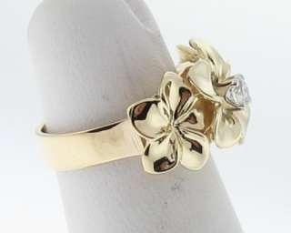 Hawaiian Plumeria Flower Diamond 14k Yellow Gold Ring