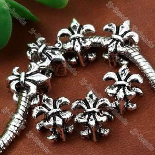 20pc Tibetan Silver Fleur De Lis Navy Stamp European Beads Fit Charms