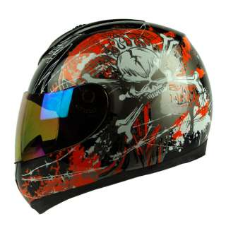 Black Orange Skull Full Face DOT APPORVED Motorcycle Street Bike Race